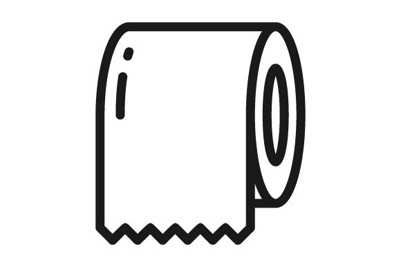 Print on Demand: Toilet Paper Line Icon Logo Design Graphic Icons By graphicrun123