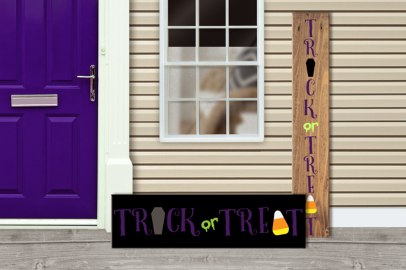 Trick or Treat Halloween Porch Sign Graphic Crafts By RisaRocksIt