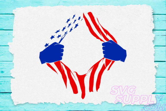 Print on Demand: American Flag Torn Graphic Crafts By svgsupply