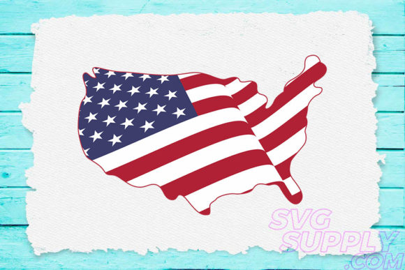 American Flags Map SVG Cut Files