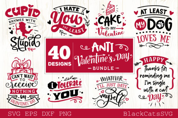 Download Free Anti Valentine S Day Bundle Graphic By Blackcatsmedia Creative for Cricut Explore, Silhouette and other cutting machines.