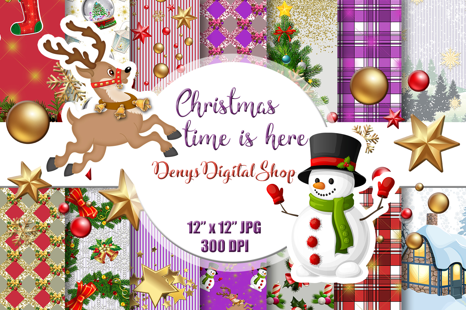 Download Free Christmas Digital Paper Scrapbook Paper Graphic By for Cricut Explore, Silhouette and other cutting machines.