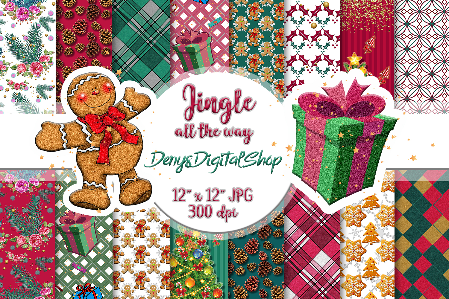 Download Free Christmas Scrapbook Paper Download Graphic By Denysdigitalshop for Cricut Explore, Silhouette and other cutting machines.