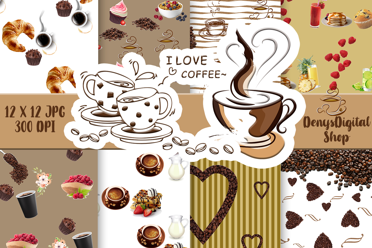 Download Free Coffee Digital Paper Coffee Scrapbook Graphic By for Cricut Explore, Silhouette and other cutting machines.