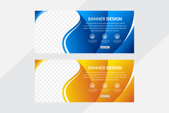 Print on Demand: Curve Orange Blue Horizontal Banner Graphic Graphic Templates By noory.shopper