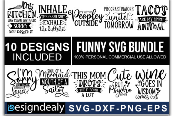 Print on Demand: Funny Quotes Bundle 01 Graphic Print Templates By Designdealy.com - Image 1