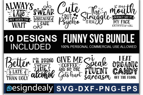 Print on Demand: Funny Quotes SVG Bundle 02 Grafik Druck-Templates von Designdealy.com
