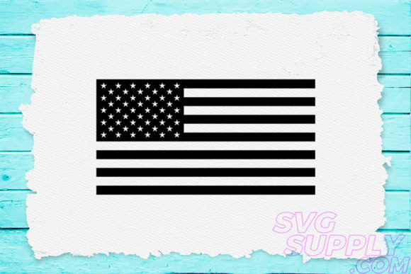 Print on Demand: Monochrome America Flag Graphic Crafts By svgsupply