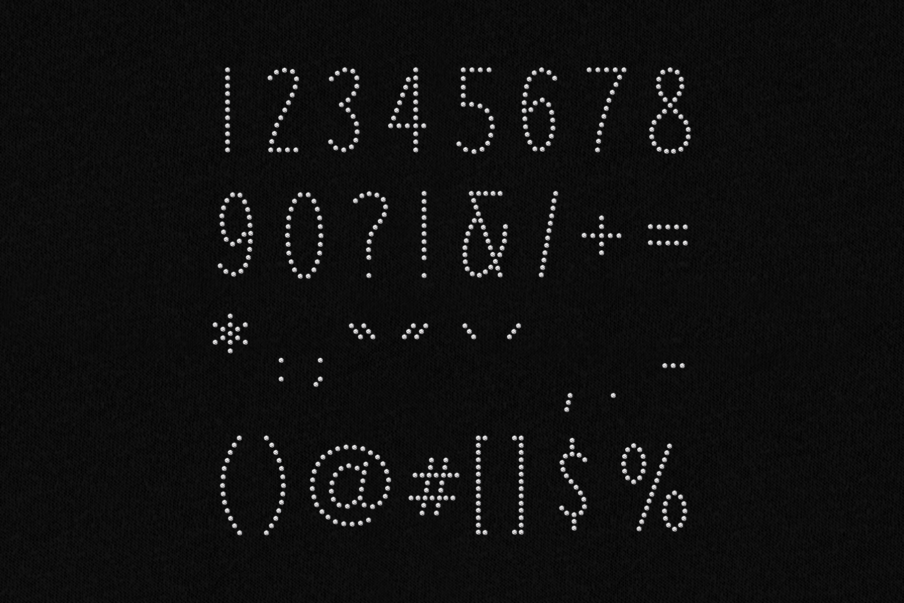 Rhinestone Numbers and Punctuation SVG File