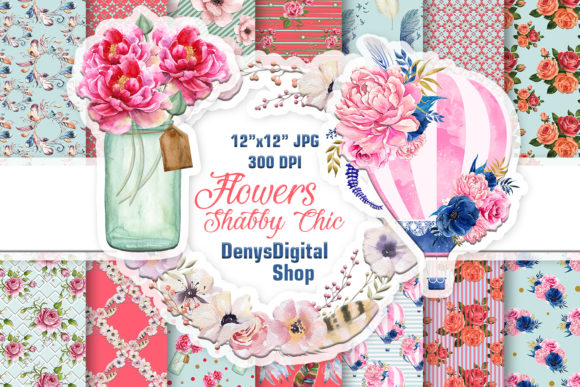 Shabby Chic Papers Scrapbook Papers Grafik Designvorlagen von denysdigitalshop