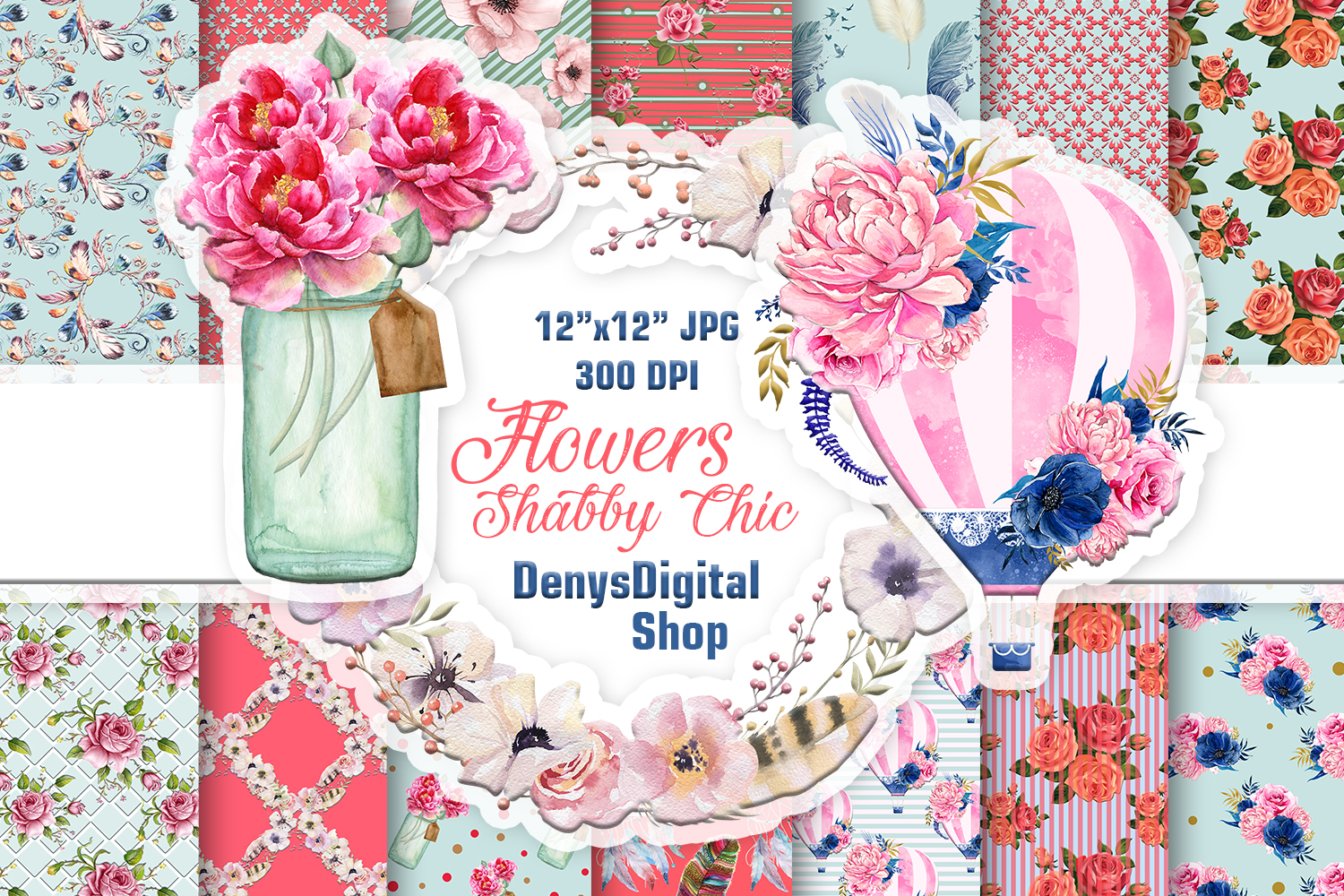 Download Free Shabby Chic Papers Scrapbook Papers Graphic By Denysdigitalshop for Cricut Explore, Silhouette and other cutting machines.