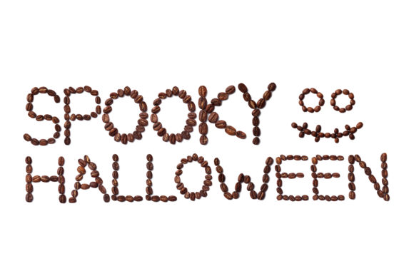 Download Free Spooky Halloween Quote And Scary Face Made With Coffee Beans for Cricut Explore, Silhouette and other cutting machines.
