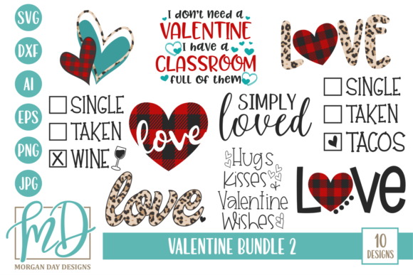Print on Demand: Valentine Bundle 2 Grafik Designvorlagen von Morgan Day Designs