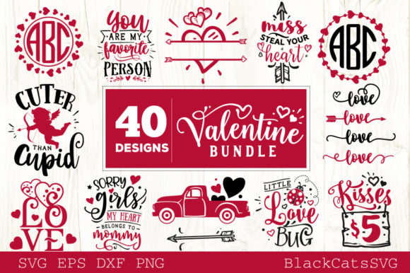 Valentine's Day Bundle 40 Designs Graphic Crafts By BlackCatsMedia