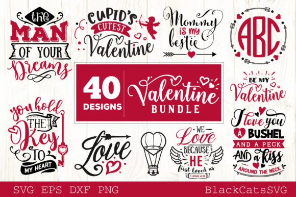 Valentines Day SVG Bundle 40 Designs Graphic Crafts By BlackCatsMedia - Image 3