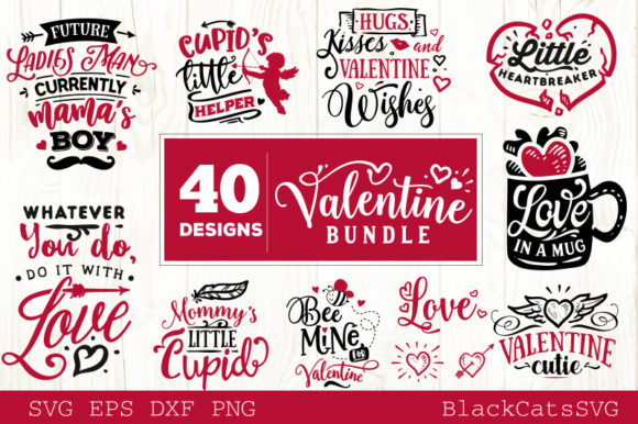 Download Free Valentine S Day Bundle 40 Designs Graphic By Blackcatsmedia for Cricut Explore, Silhouette and other cutting machines.
