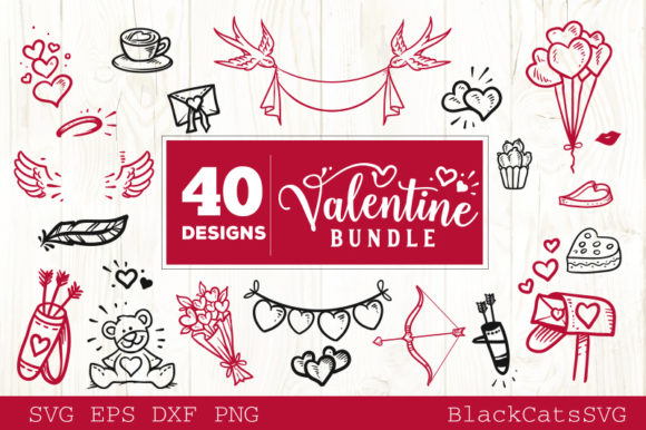 Valentines Day SVG Bundle 40 Designs Graphic Crafts By BlackCatsMedia - Image 6
