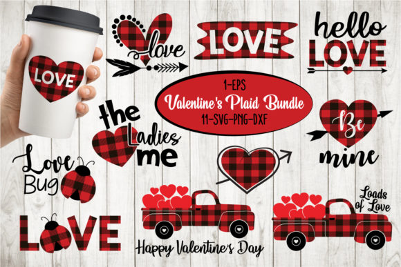 Valentines Quotes Buffalo Plaid Bundle Grafik Designvorlagen von All About Svg