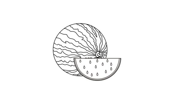Coloring Book Melon to Educate Kids Logo Graphic Coloring Pages & Books Kids By DEEMKA STUDIO