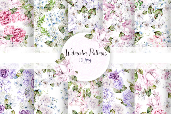 10 Watercolor Wedding Patterns Graphic Patterns By Knopazyzy