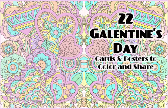 Print on Demand: 22 Galentine's Day Coloring Pages Bff Graphic Coloring Pages & Books Adults By DigitalPrintableMe - Image 1