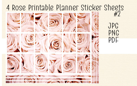 Download Free 4 Rose Printable Planner Sticker Sheet 1 Graphic By Kathryn for Cricut Explore, Silhouette and other cutting machines.