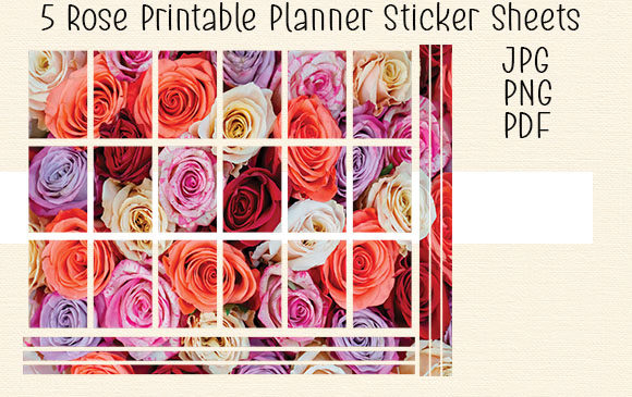 Download Free 5 Rose Printable Planner Sticker Sheet 1 Graphic By Kathryn for Cricut Explore, Silhouette and other cutting machines.
