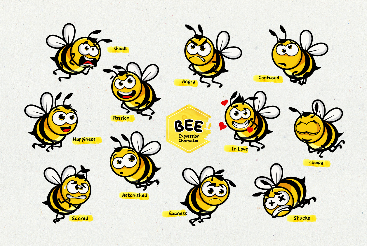 Download Free Bee S Expression Character Graphic By Ketapelcreative Creative for Cricut Explore, Silhouette and other cutting machines.