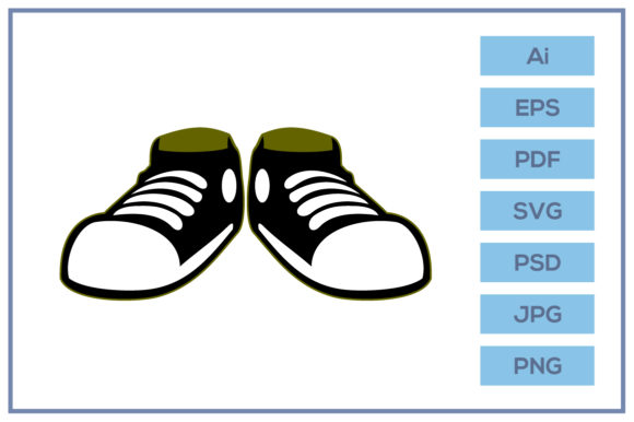 Print on Demand: Black Casual Shoes Design Graphic Icons By leamsign