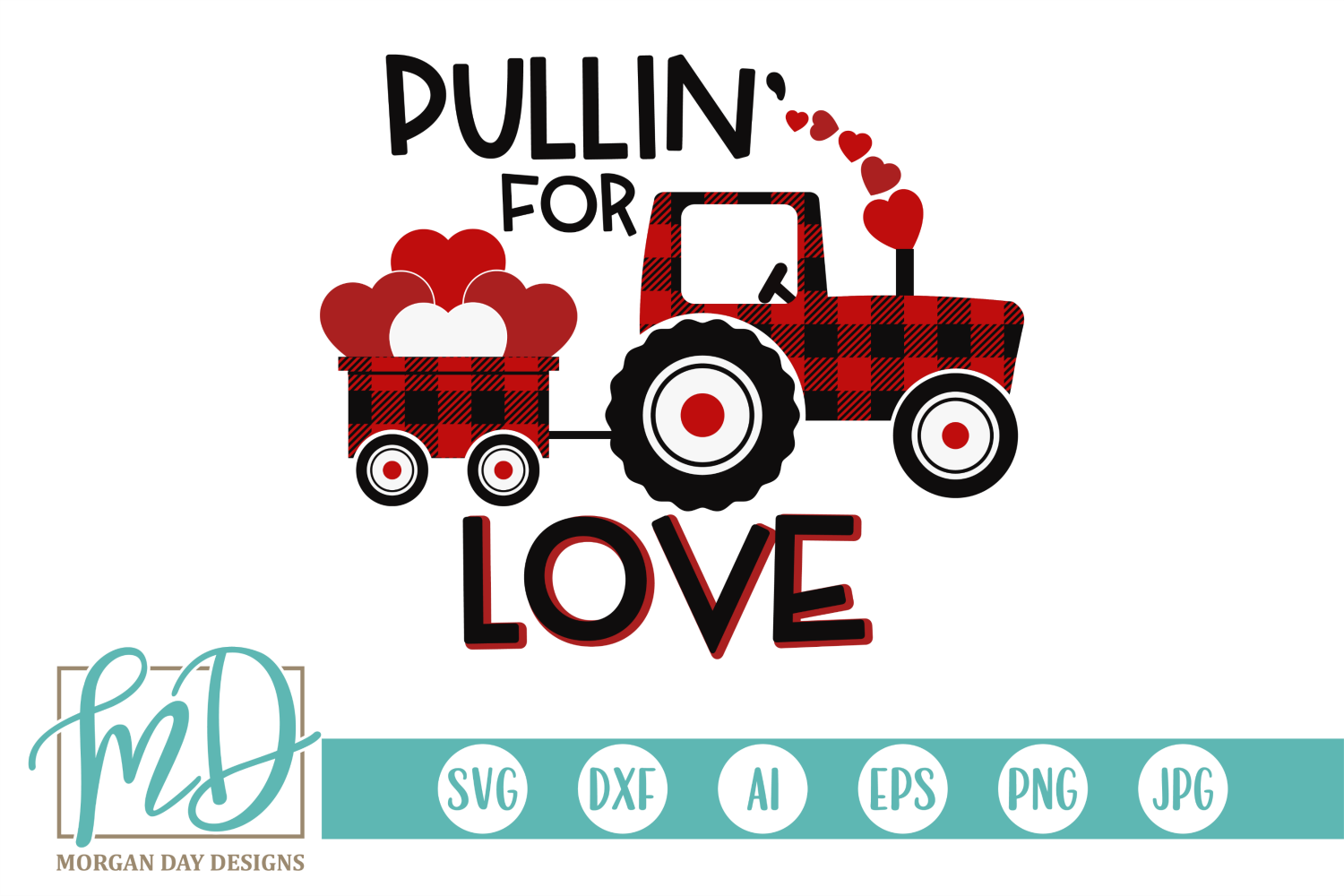 Download Free Buffalo Plaid Valentine Tractor Creative Fabrica for Cricut Explore, Silhouette and other cutting machines.