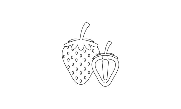 Coloring Book Strawberry to Educate Kids Logo Graphic Coloring Pages & Books Kids By DEEMKA STUDIO