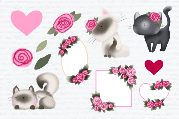 Print on Demand: Cute Cat Clipart Graphic Illustrations By Wallifyer - Image 2