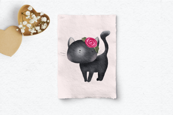 Print on Demand: Cute Cat Clipart Graphic Illustrations By Wallifyer - Image 3