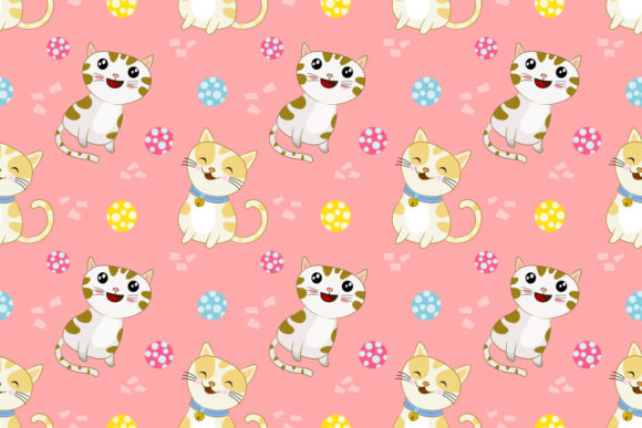 Cute Cats with Colorful Ball Pattern. Graphic Patterns By ranger262