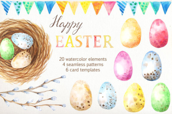 Easter Watercolor Collection Graphic Illustrations By Larysa Zabrotskaya