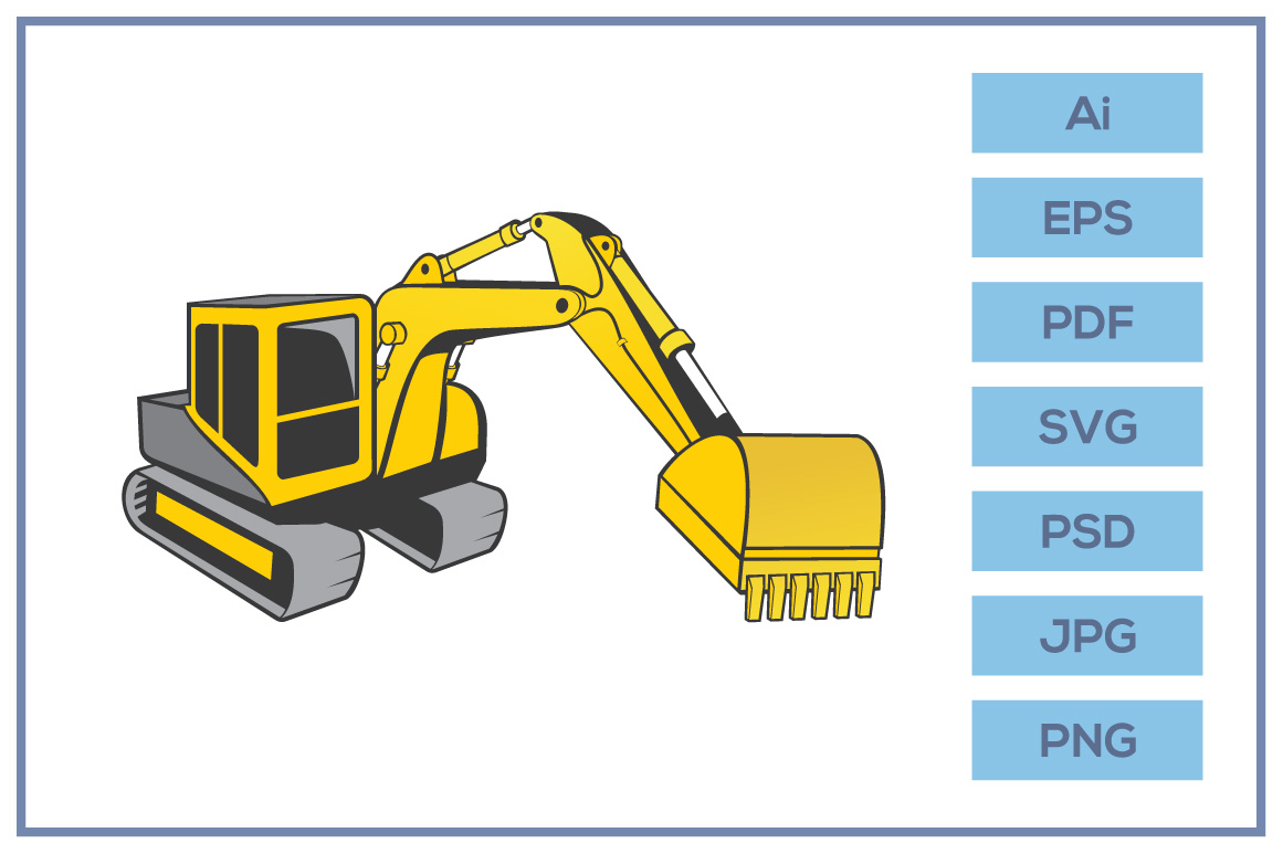 Download Free Excavator Illustration Design Graphic By Leamsign Creative Fabrica for Cricut Explore, Silhouette and other cutting machines.
