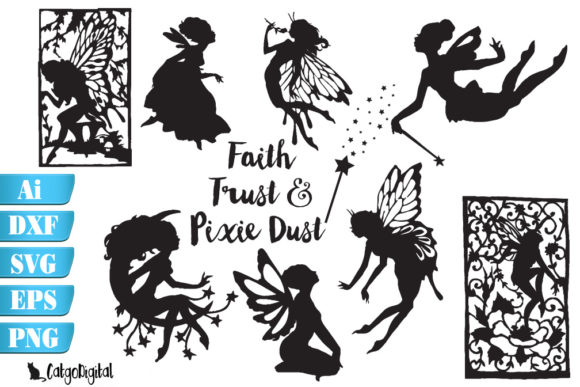 Download Free Fairy Silhouettes With Quote Svg Eps Png Graphic By Catgodigital for Cricut Explore, Silhouette and other cutting machines.