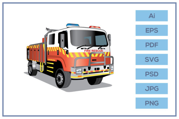 Print on Demand: Fire Rescue Truck Cartoon Design Graphic Icons By leamsign