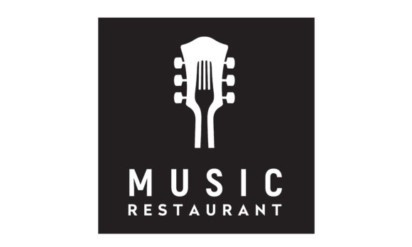 Download Free Fork Guitar Music Cafe Restaurant Logo Graphic By Enola99d Creative Fabrica for Cricut Explore, Silhouette and other cutting machines.