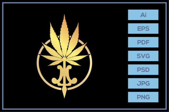 Download Free Gold Luxury Cannabis Marijuana Design Graphic By Leamsign for Cricut Explore, Silhouette and other cutting machines.