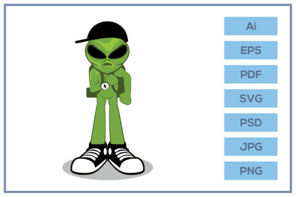 Download Free Green Alien Character Wearing Black Hat Graphic By Leamsign for Cricut Explore, Silhouette and other cutting machines.