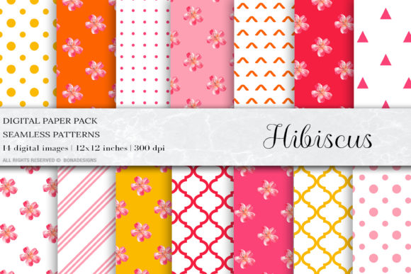 Hibiscus Digital Papers Graphic Patterns By BonaDesigns