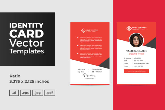 Print on Demand: ID Card Vector Template Graphic Graphic Templates By dendysign