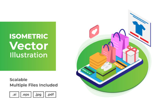 Print on Demand: Isometric Vector Illustration Template Graphic Graphic Templates By dendysign