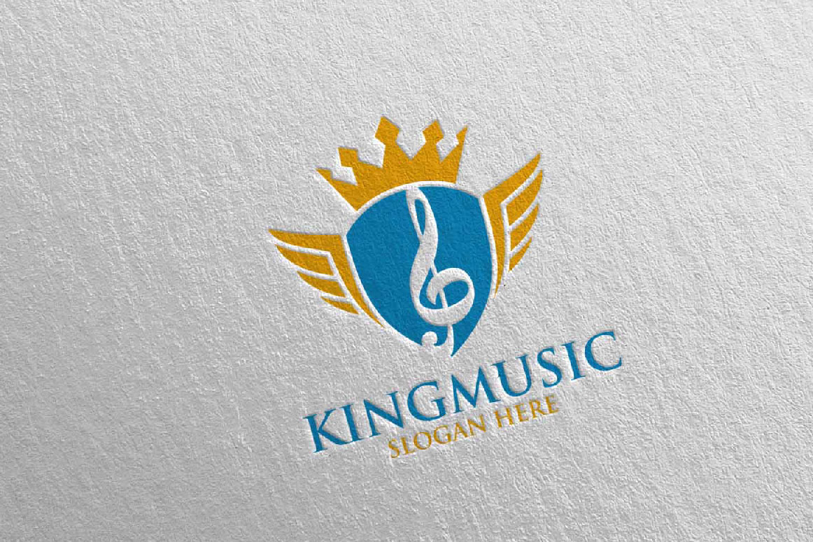 Download Free King Music Logo With Shield And Note Grafico Por Denayunecf for Cricut Explore, Silhouette and other cutting machines.