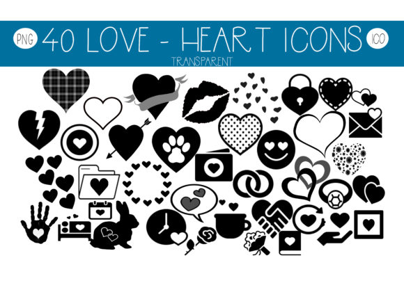 Print on Demand: Love - Heart Icons Gráfico Iconos Por capeairforce