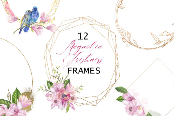 Magnolia. Watercolor Frame Clipart Graphic Illustrations By lena-dorosh