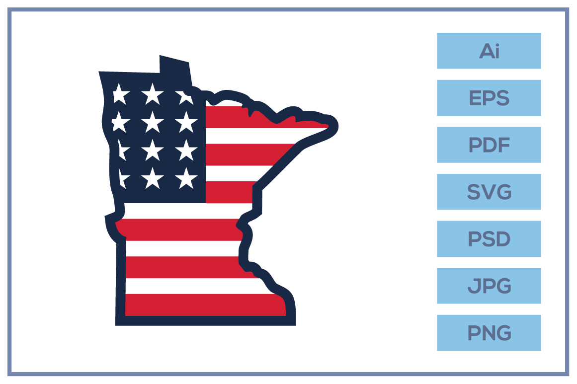 Minnesota Map With Usa Flag Graphic By Leamsign Creative Fabrica