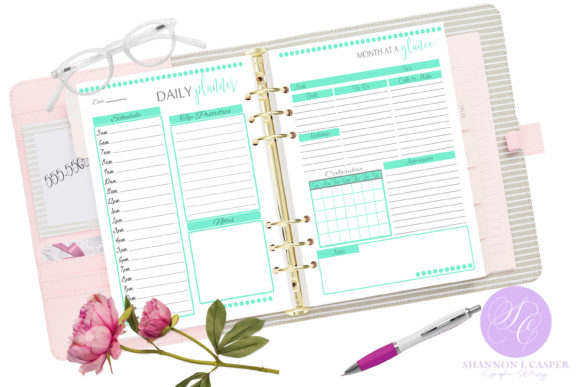Print on Demand: Monthly and Weekly Printable Planner Graphic Print Templates By Shannon Casper - Image 2