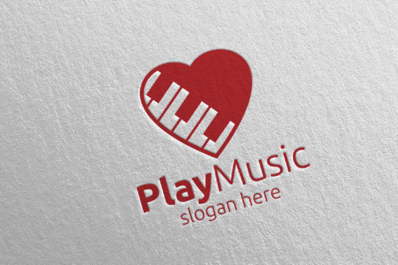 Download Free Music Logo With Love And Piano Concept Graphic By Denayunecf for Cricut Explore, Silhouette and other cutting machines.